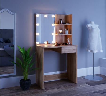 SEM217 - Set Masa toaleta 75 cm, cosmetica machiaj oglinda cu sau fara LED, masuta vanity Maro