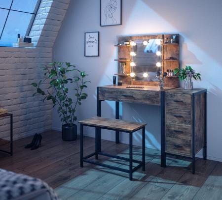 SEM227 - Set Masa toaleta, 110 cm, cosmetica machiaj oglinda cu sau fara LED, masuta vanity, cu sau fara bancuta - Maro stil industrial