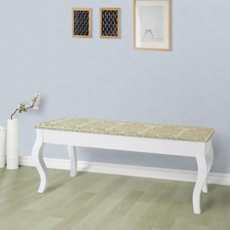 BAA2 - Bancheta, bancuta, banca tapitata lemn vopsit pentru masuta de toaleta, pat, dormitor, hol, living - Alb