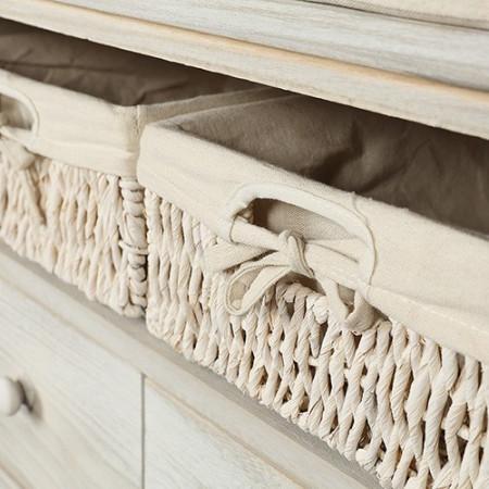 BAC1 - Bancheta, bancuta, hol, dormitor banca lemn vopsit 2 sertare si 3 cosuri - Crem