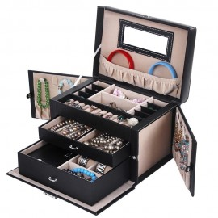 CJN202 - Cutie cutiuta bijuterii, depozitare ceasuri, imitatie piele - Negru