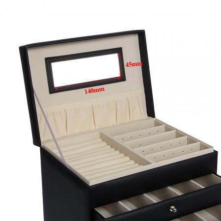 CJN205 - Cutie cutiuta bijuterii cu oglinda, imitatie piele - Negru