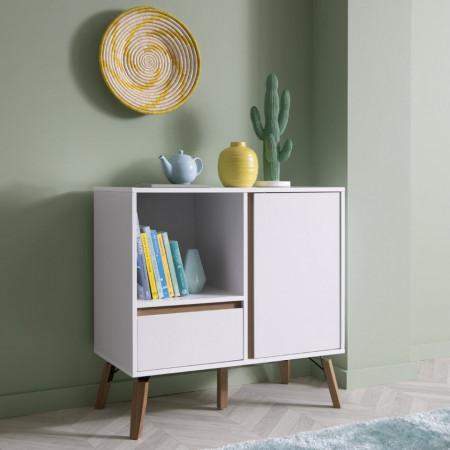 COA134 - Comoda alba, 80 cm, dulap cu 1 sertar pentru dormitor, living - Marsilia