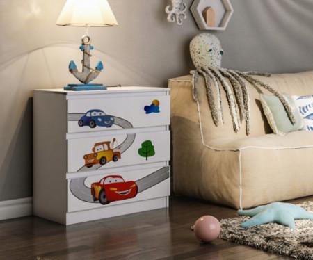 COA501 - Comoda alba cu 3 sertare pentru camera copiilor