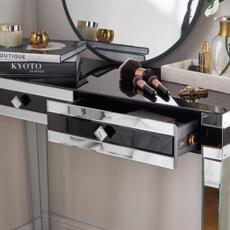 MAOG102 - Masa toaleta oglinda, 105 cm, cosmetica machiaj masuta vanity birou, Argintiu
