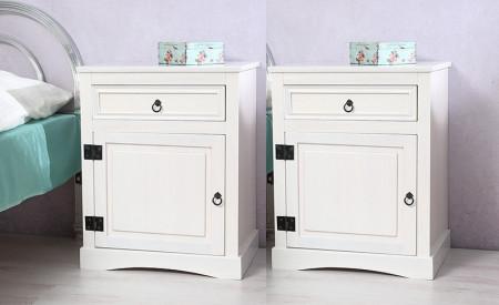 NOA11 - Set 2x Noptiere albe cu sertar si dulap
