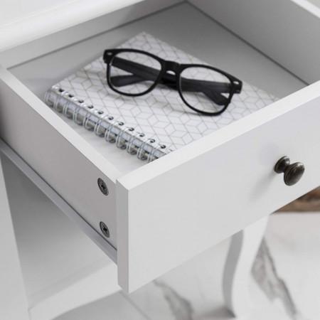 NOA128 - Set 2 Noptiere albe cu 1 sertar pentru dormitor - Lisabona