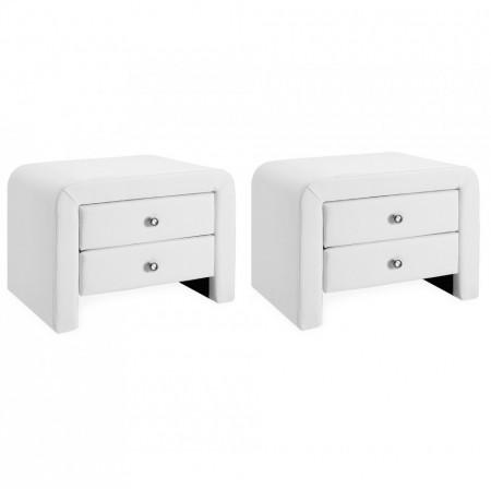 NOA208 - Set 2 Noptiere albe capitonate cu 2 sertare pentru dormitor - Piele ecologica