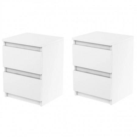 NOA502 - Set 2 Noptiere cu 2 sertare pentru dormitor - Alb mat sau Alb lucios