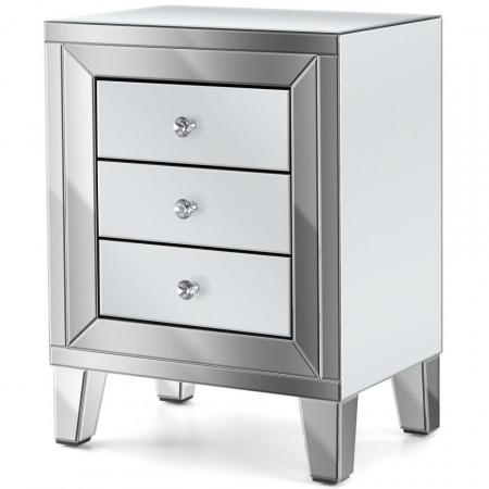 NOOG112 - Noptiera, dulap cu 3 sertare, dormitor - Oglinda - Argintiu