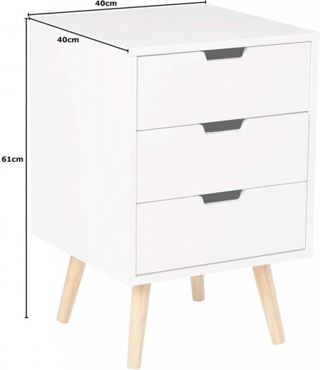 NOT1 - Set 2 Noptiere cu 3 sertare pentru dormitor - Alb sau Gri
