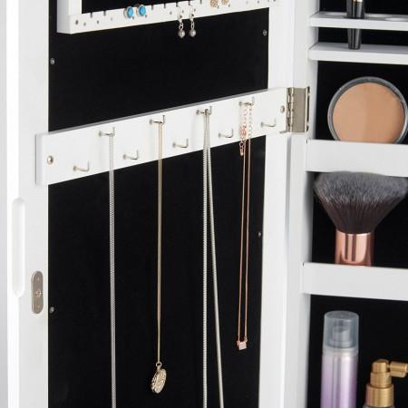 OGA117 - Oglinda caseta de bijuterii cu lumini, dulap, dulapior dormitor, dressing - Alb