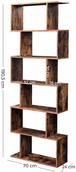 RAI222 - Rafturi 70 cm, pentru living, birou, hol, biblioteca stil industrial - Maro