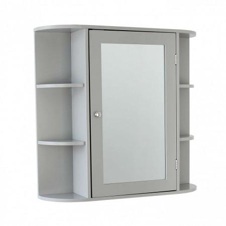 ROSA102 - Set Mobilier Baie Rosa - 5 piese - masca chiuveta, dulap cu oglinda, dulap inalt, cos de rufe, dulap hartie - Gri