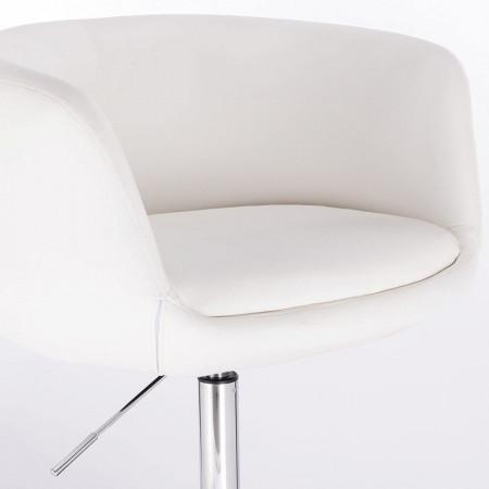 SCA216 - Scaun tapitat Alb pentru masa toaleta, birou, bar, lounge, imitatie de piele, inaltime reglabila