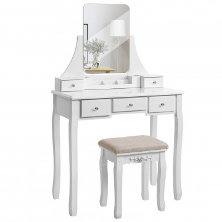 SEA249 - Set Masa Alba sau Neagra toaleta cosmetica machiaj oglinda masuta, scaunel taburet tapitat