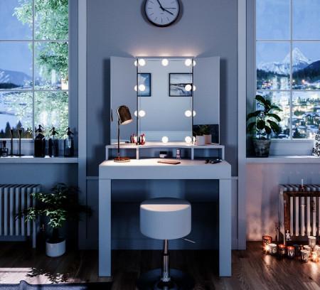 SEA339 - Set Masa alba toaleta moderna, 90 cm, cosmetica machiaj oglinda masuta vanity cu oglinda cu LED sau fara LED