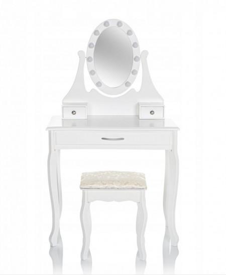 SEA519 - Set Masa alba toaleta, 75 cm, cosmetica machiaj oglinda cu LED, masuta vanity, scaunel, taburet tapitat