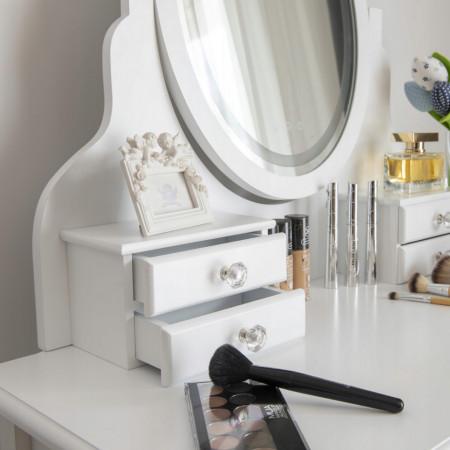 SEA530 - Set Masa toaleta, 80 cm, cosmetica machiaj, masuta cu oglinda cu LED si scaunel, taburet tapitat - Alb
