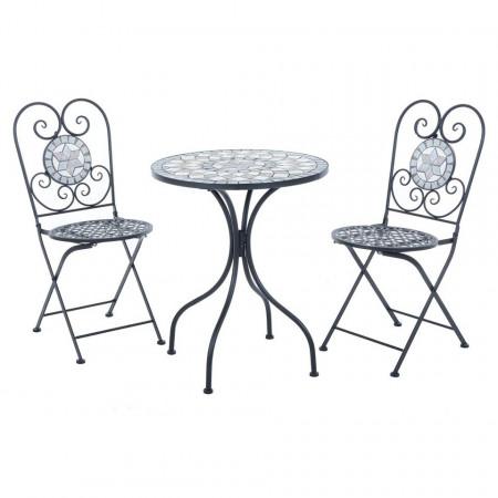 SEGG104 - Set Masa si 2 scaune pliante Mozaic gradina, terasa, balcon - Gri