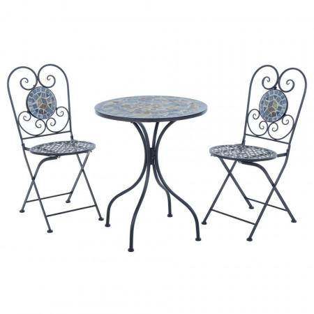 SEGG105 - Set Masa si 2 scaune pliante Mozaic gradina, terasa, balcon - Gri