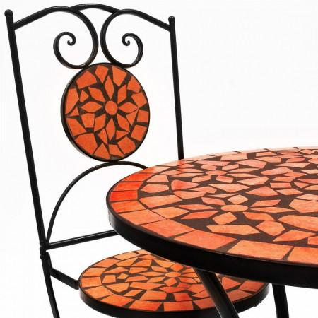 SEGP201 - Set Masa si scaune pliante Mozaic gradina, terasa, balcon - Portocaliu teracota