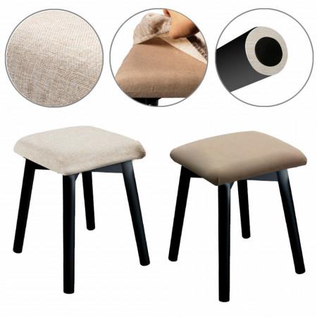 SEN232 - Set Masa toaleta, 80 cm, cosmetica machiaj, masuta vanity, birou, masuta de scris, scaunel, taburet tapitat - Negru