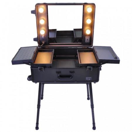 STN101 - Statie Makeup portabila, troler, organizator, portfard, geanta, valiza cu picioare si oglinda cu lumini