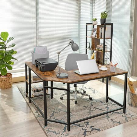BII205 - Masa de Birou pe colt 138 cm, office industrial - Maro