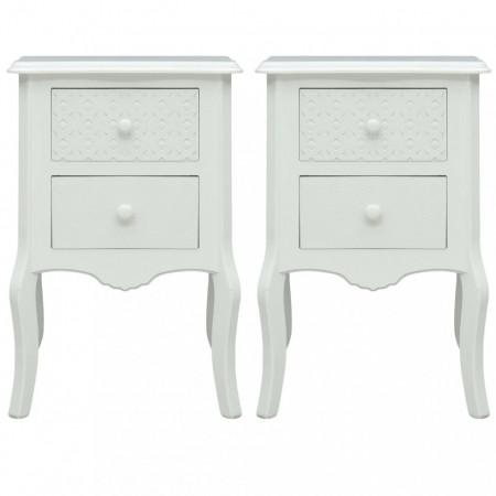 NOA19 - Set 2 Noptiere albe, 43 cm, cu 2 sertare