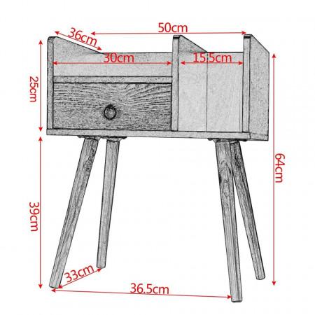 NOM207 - Set 2 Noptiere maro cu 1 sertar pentru dormitor