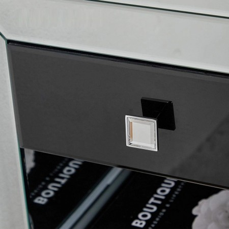 NOOG111 - Noptiera, dulap cu 1 sertar, dormitor - Oglinda - Argintiu si Negru