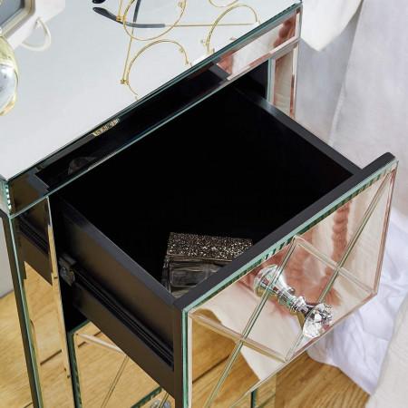 NOOG125 - Noptiera 30 cm, cu 3 sertare, dormitor - Oglinda - Argintiu