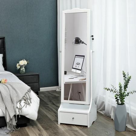 OGA124 - Oglinda caseta de bijuterii cu LED, dulap, dulapior cu picioare dormitor, dressing - Alb