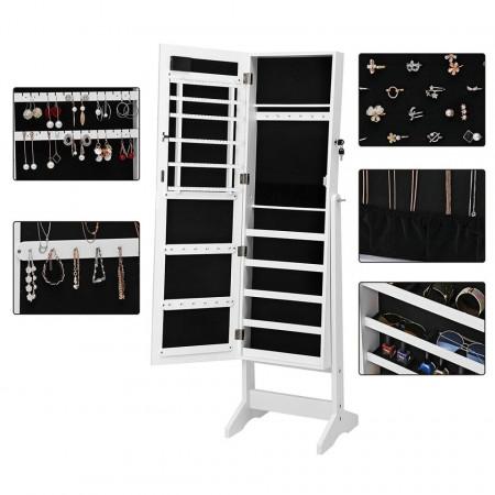 OGA206 - Oglinda caseta de bijuterii cu LED, dulap, dulapior cu picioare dormitor, dressing - Alb
