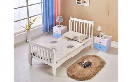 PAA103 - Pat alb sau maro pentru o persoana, dormitor - pentru saltea de 90 x 190 cm