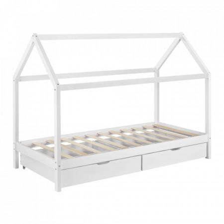 PAAC2 - Pat casuta cu sertare, pentru 1 persoana, dormitor copii - 90 x 200 cm - Alb