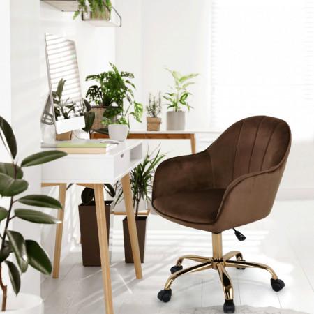 SCA604 - Fotoliu birou cu roti, scaun tapitat, scaun masuta toaleta, machiaj - Maro-Auriu