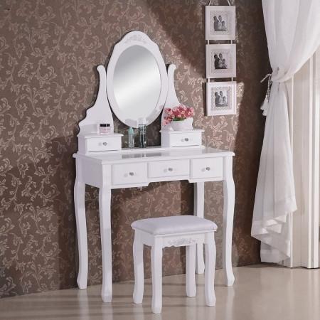 SEA112 - Set Masa alba toaleta cosmetica machiaj oglinda masuta
