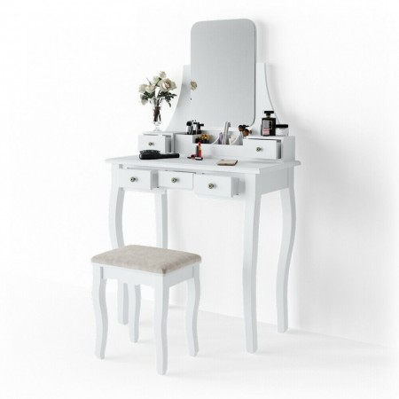 SEA272 - Set Masa toaleta, 80 cm, cosmetica machiaj cu scaun tapitat, cu oglinda make-up cu sau fara LED-uri, masuta vanity - Alba
