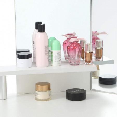 SEA296 - Set Masa toaleta, 111 cm, cosmetica machiaj cu oglinda, masuta vanity pe colt - Alb
