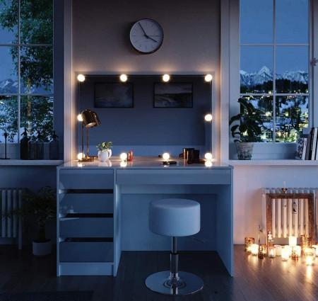 SEA348 - Set Masa toaleta, 120 cm, moderna cosmetica machiaj oglinda, masuta vanity - Alb Lucios