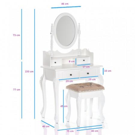 SEA502 - Set Masa Alba toaleta cosmetica machiaj oglinda masuta, scaunel taburet tapitat