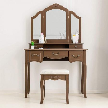 SEM106 - Set Masa toaleta cosmetica 100 cm machiaj masuta vanity, oglinda tripla - Maro