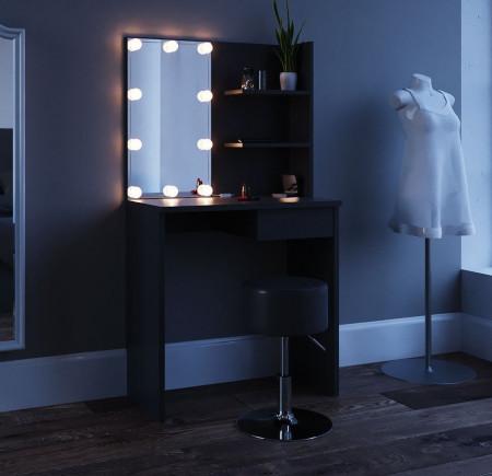 SEN224 - Set Masa neagra toaleta cosmetica machiaj oglinda masuta vanity