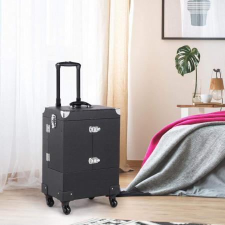 STN105 - Statie Makeup portabila, troler, organizator, portfard, geanta, valiza cu oglinda