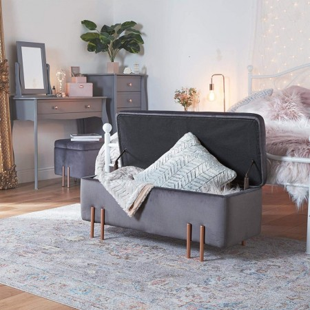 BAG103 - Divan, Canapea, fotoliu, sofa, bancheta, bancuta catifea cu lada depozitare, banca living, dormitor, hol - Gri