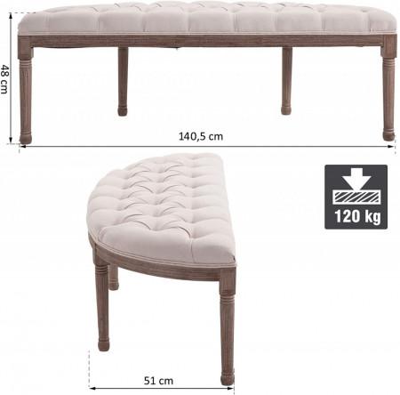 BAM218 - Bancuta 140 cm, Canapea, fotoliu, sofa, bancheta, banca living, dormitor, hol - Crem