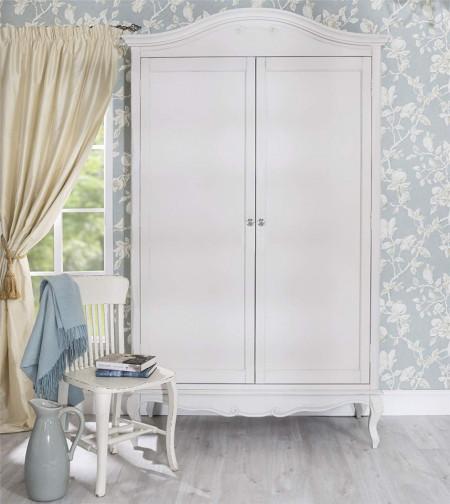 DUA123 - Dulap alb, sifonier dormitor dublu cu bara pentru umerase, manere tip cristal - Colectia Genova