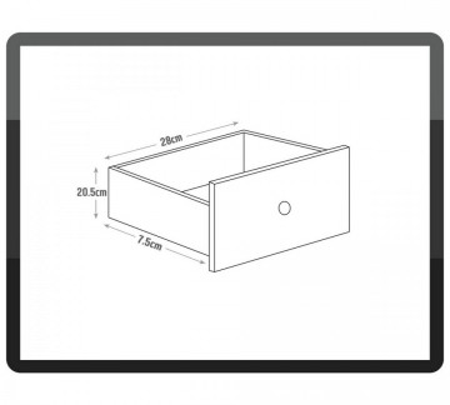 NOA116 - Noptiera, dulap cu 3 sertare cu manere, butoni metalici si detaliu floral - Crem / Ivory